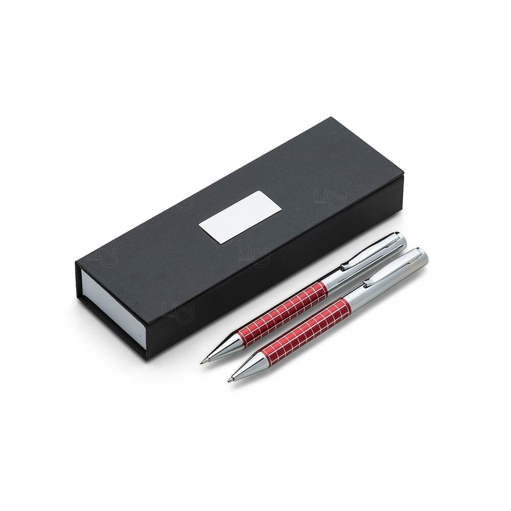 Conjunto Caneta e Lapiseira Metal Personalizado Vermelho