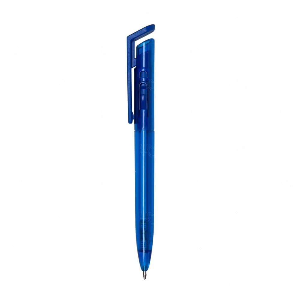 Caneta Plástica Translúcida Colorida Personalizada Azul