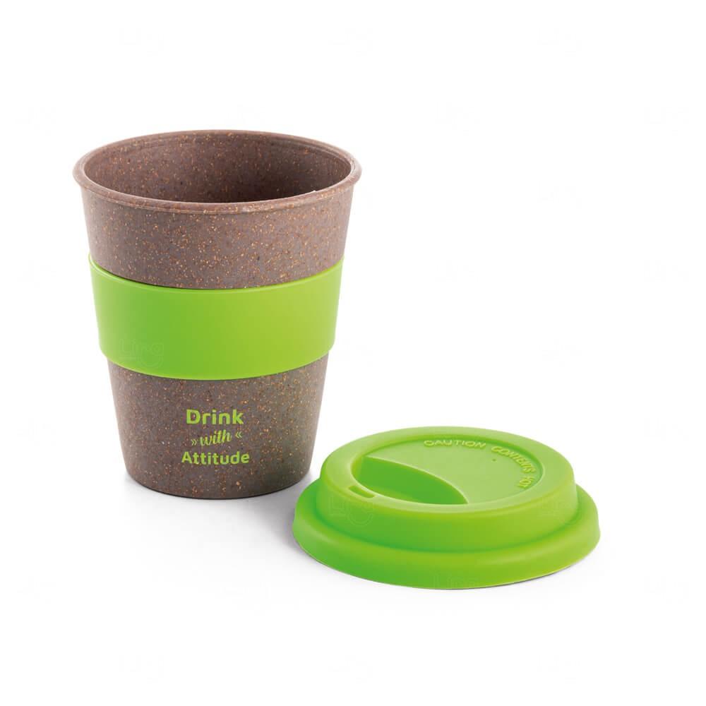 Copo de Viagem Fibra de Bambu Personalizado -  390ml Verde