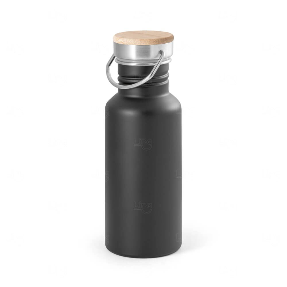 Squeeze de Inox e tampa de Bambu Personalizado -  540ml Preto