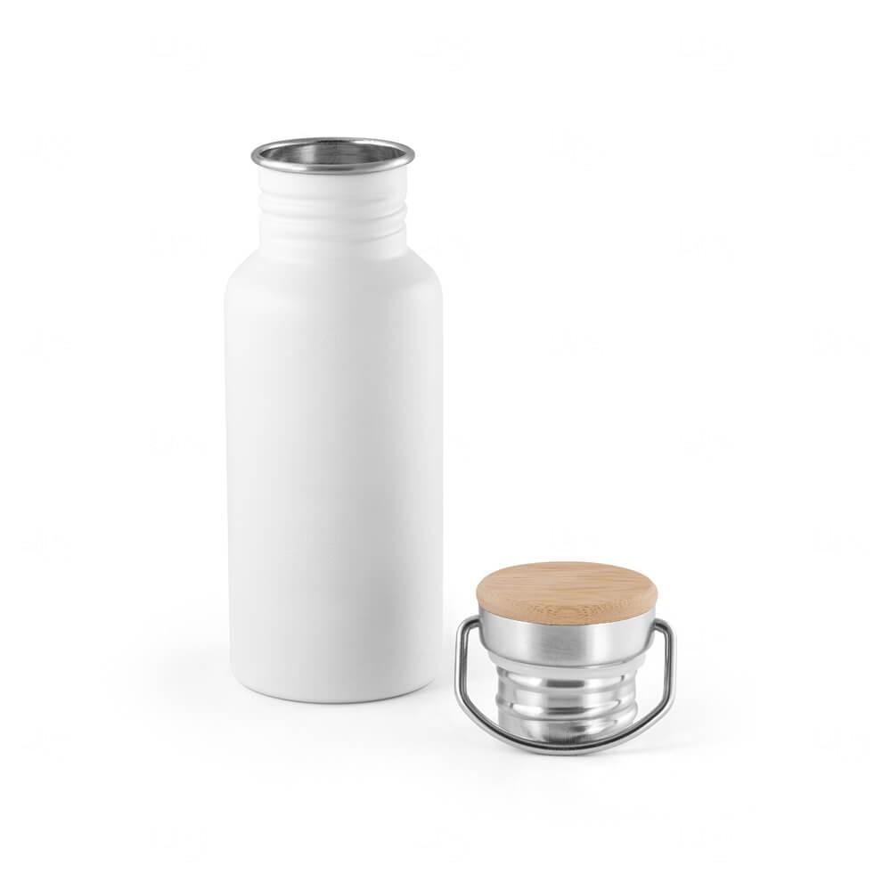 Squeeze de Inox e tampa de Bambu Personalizado -  540ml Branco