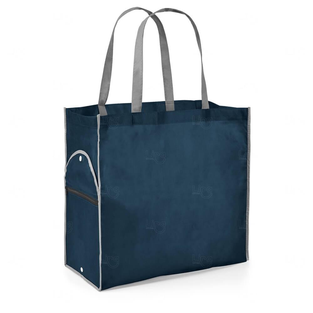 Sacola Dobrável Personalizada Azul Marinho
