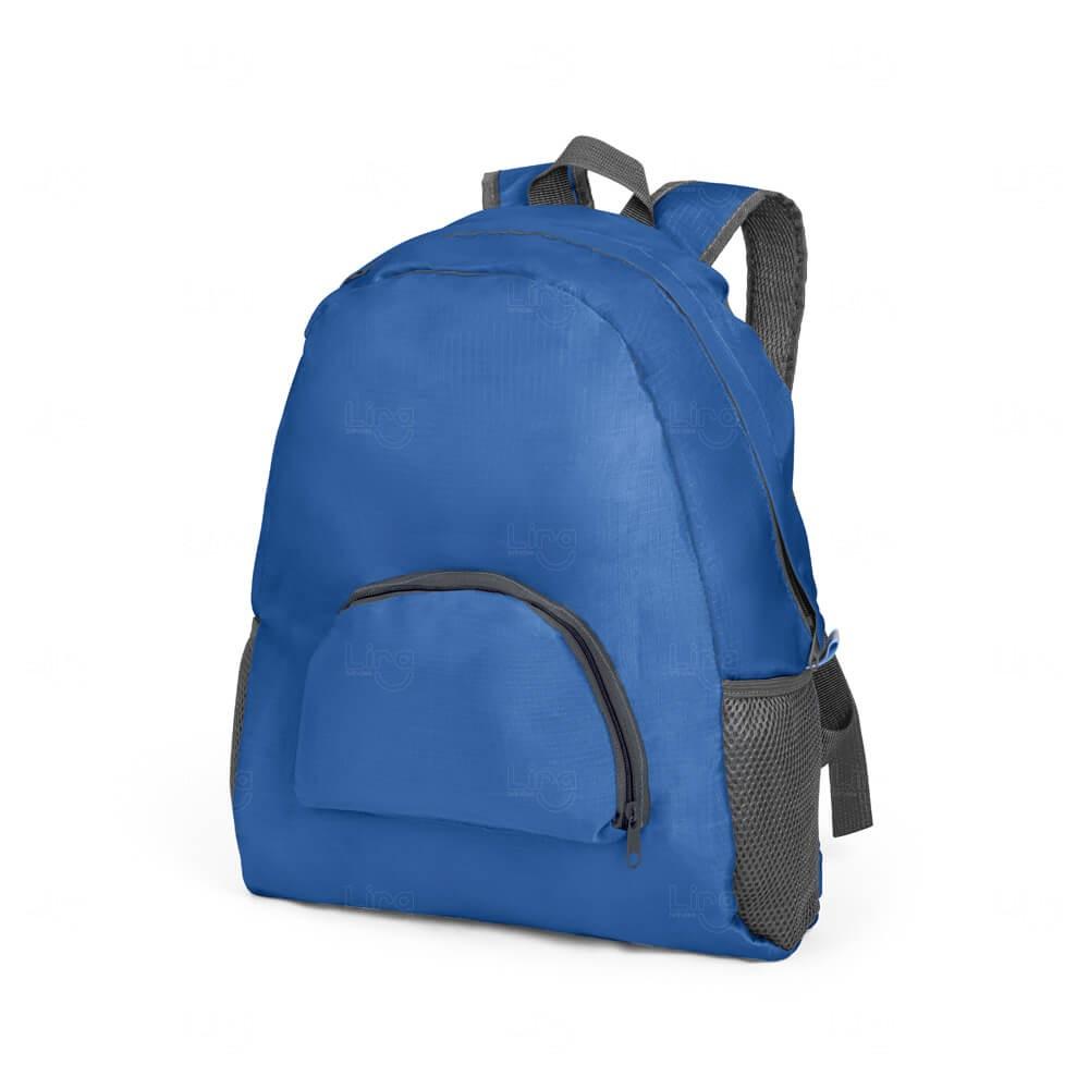 Mochila Dobrável Personalizada Azul