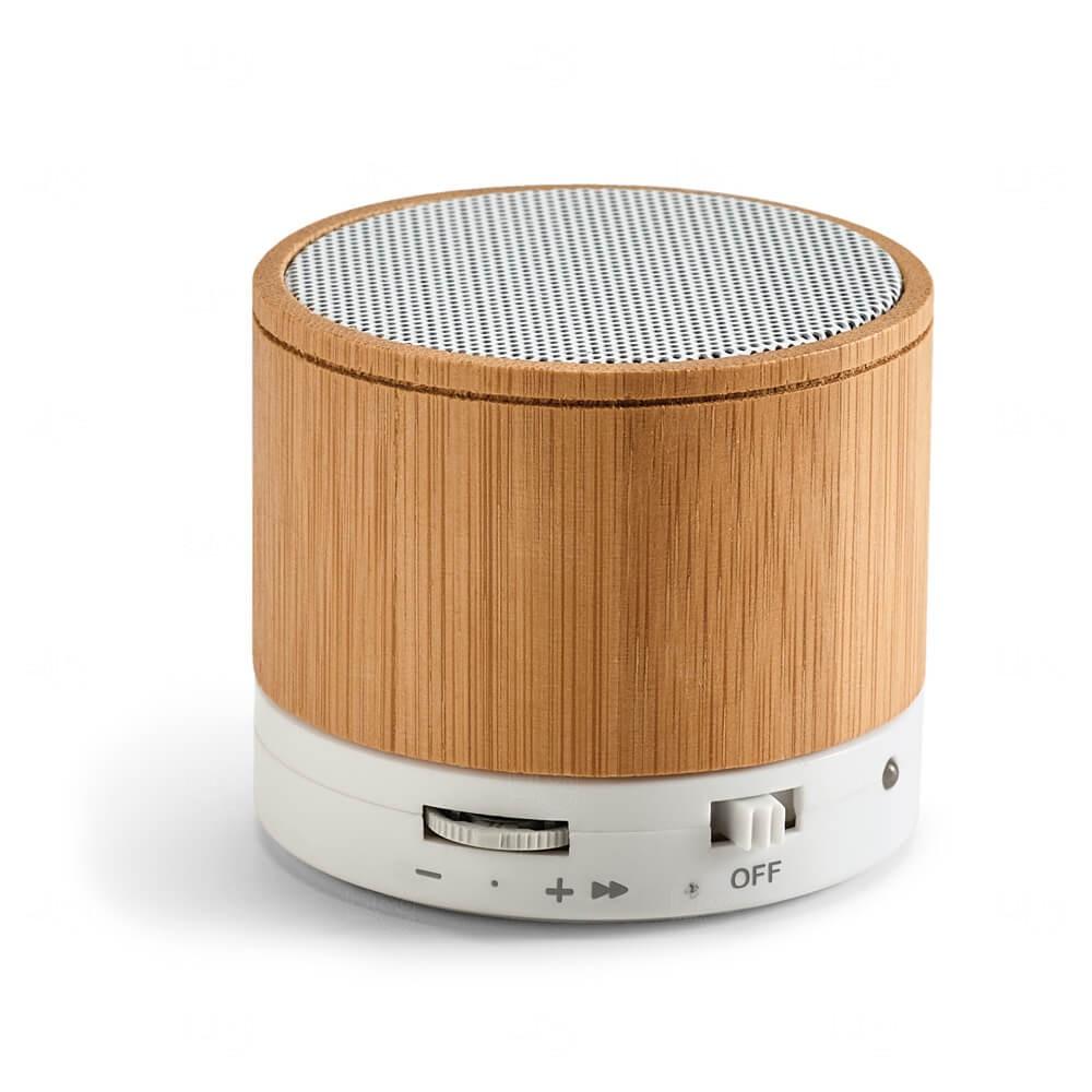 Caixa De Som Com Microfone Bambu Personalizado - 300mAh Natural