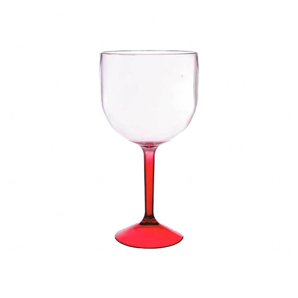 Taça de Gin  Acrilica Bicolor Personalizado - 570ml Vermelho