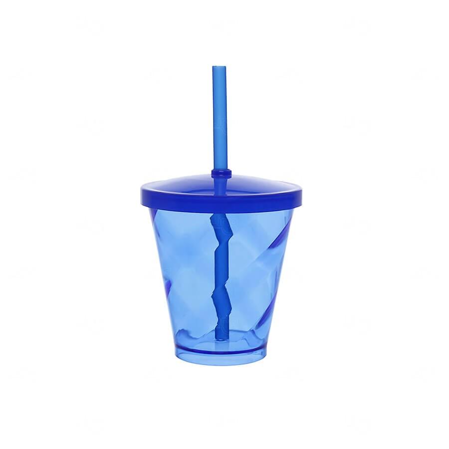 Copo C/ Canudo Simples Personalizado - 350ml Azul