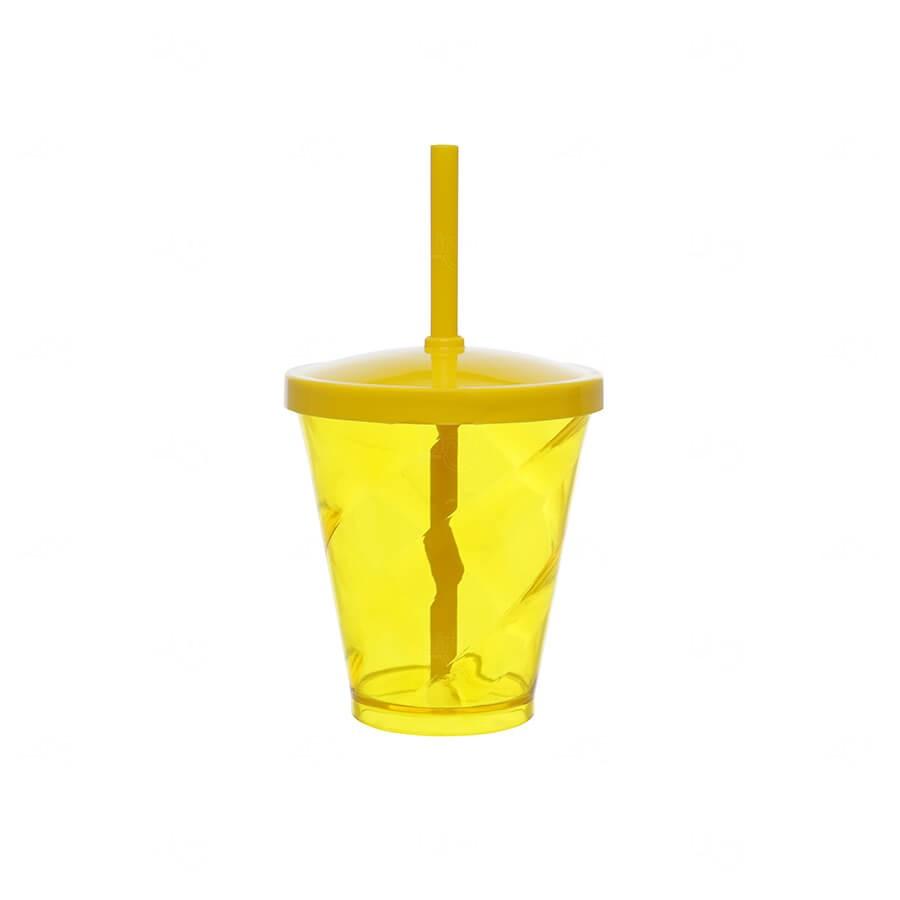 Copo C/ Canudo Simples Personalizado - 350ml Amarelo