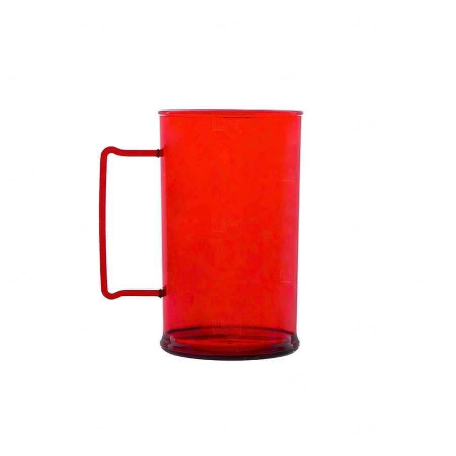 Caneca De Chopp Personalizada - 500ml (Leitosa ou Cristal) Vermelho
