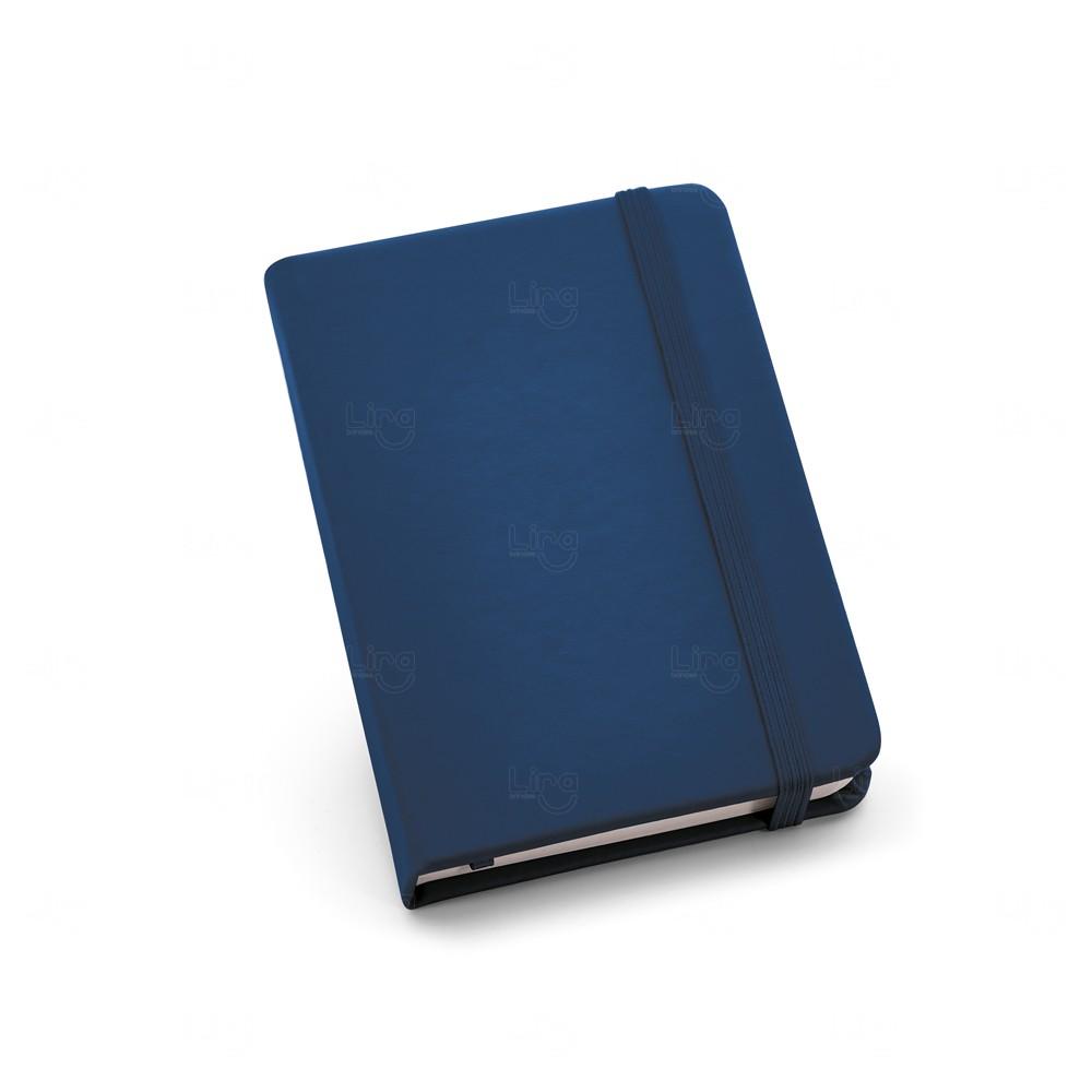 Caderneta Couro Tipo Moleskine Personalizada Azul Marinho