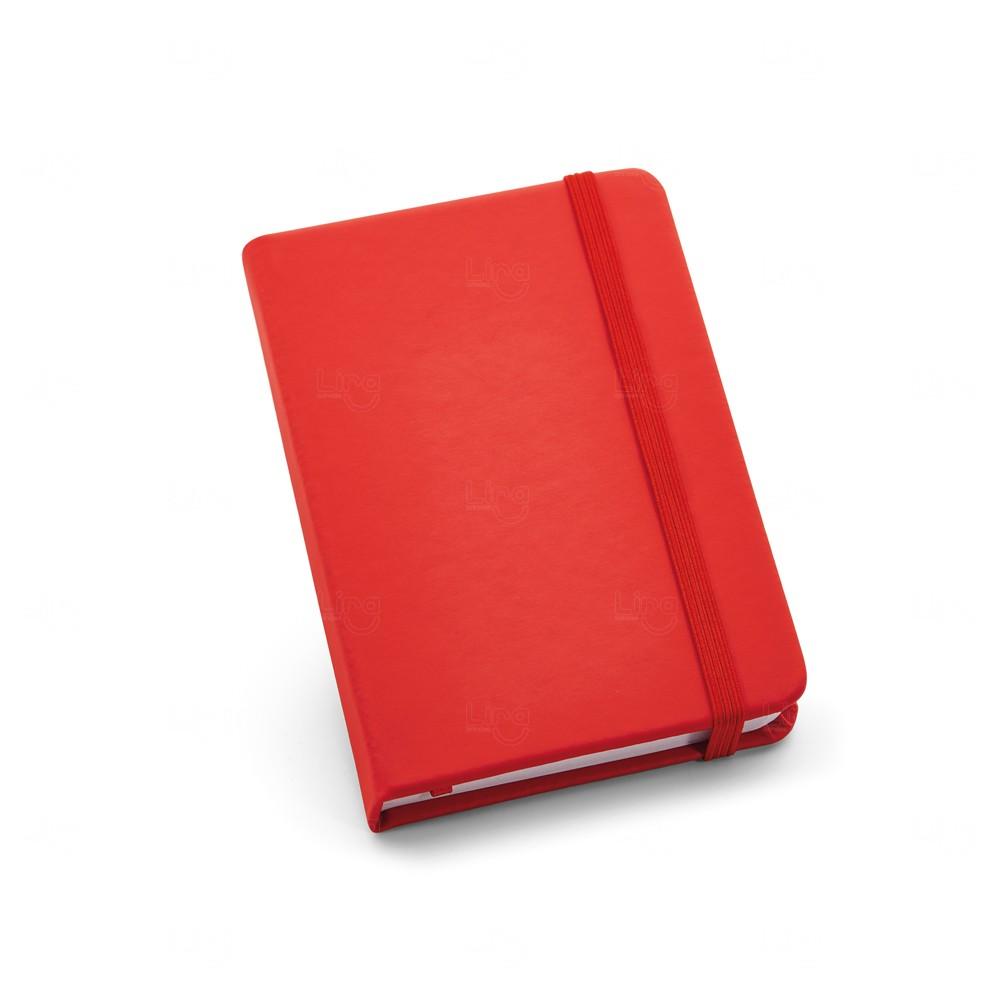 Caderneta Couro Tipo Moleskine Personalizada Vermelho