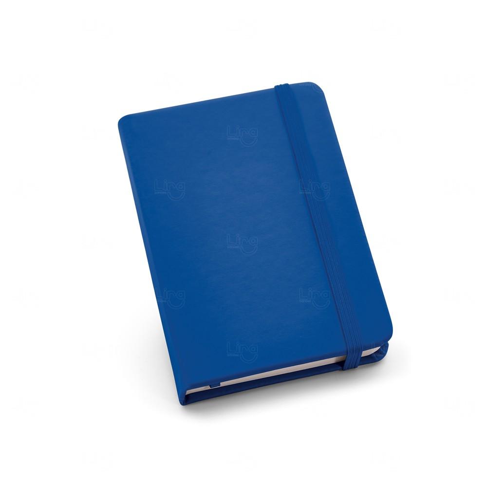 Caderneta Couro Tipo Moleskine Personalizada Azul