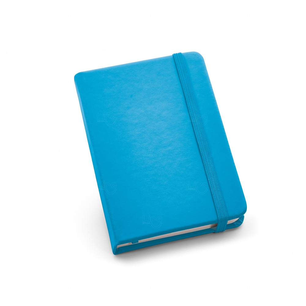 Caderneta Couro Tipo Moleskine Personalizada Azul Claro