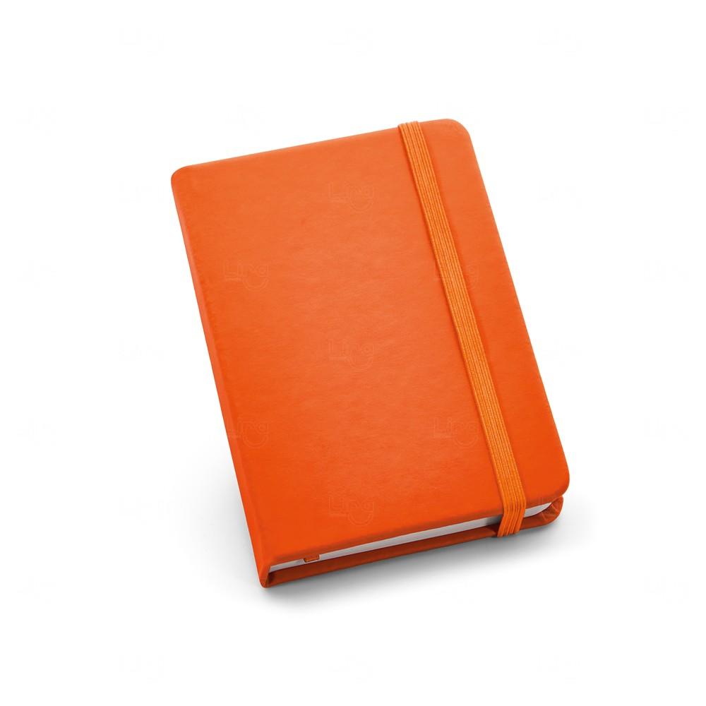 Caderneta Couro Tipo Moleskine Personalizada Laranja