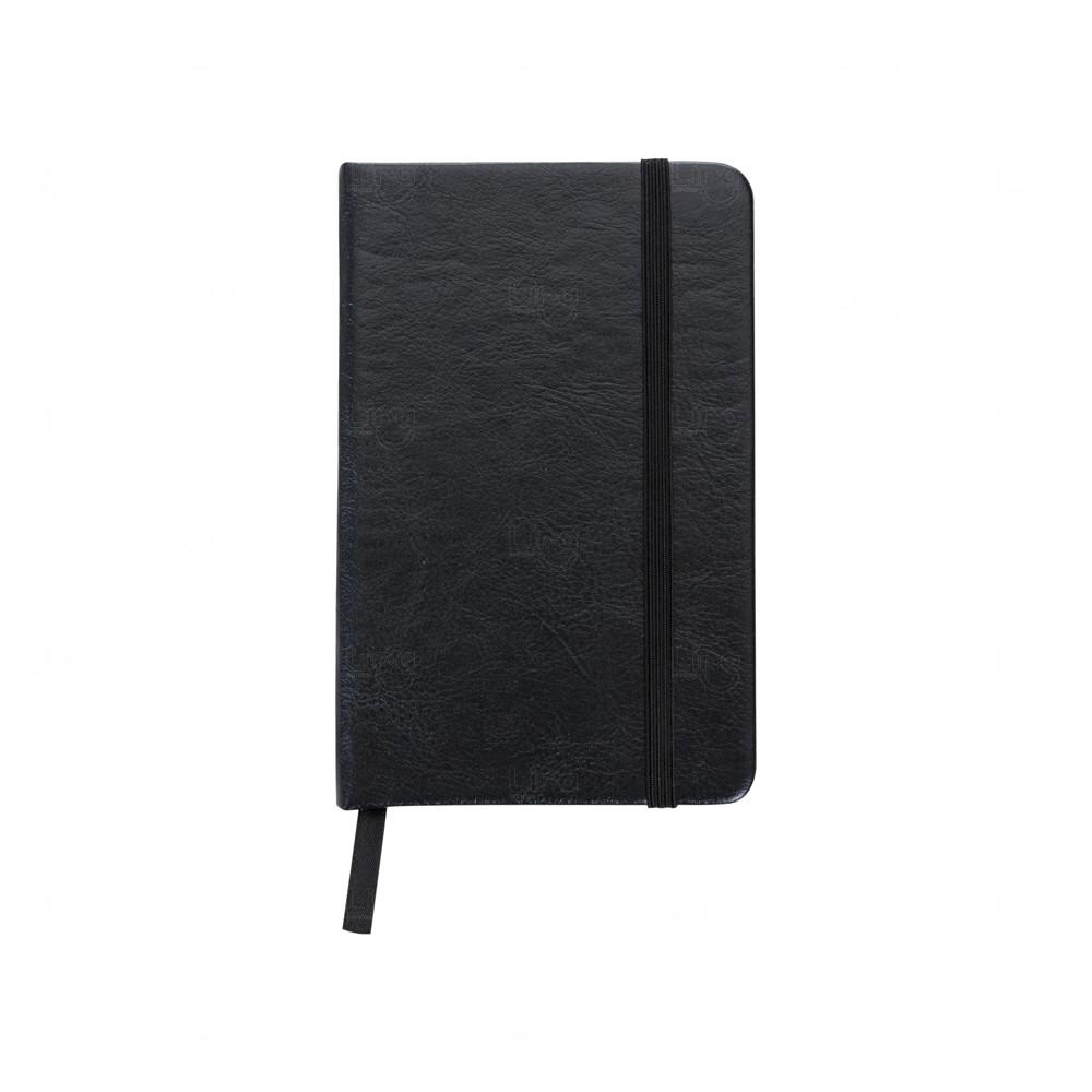 Caderneta Tipo Moleskine Personalizada Preto