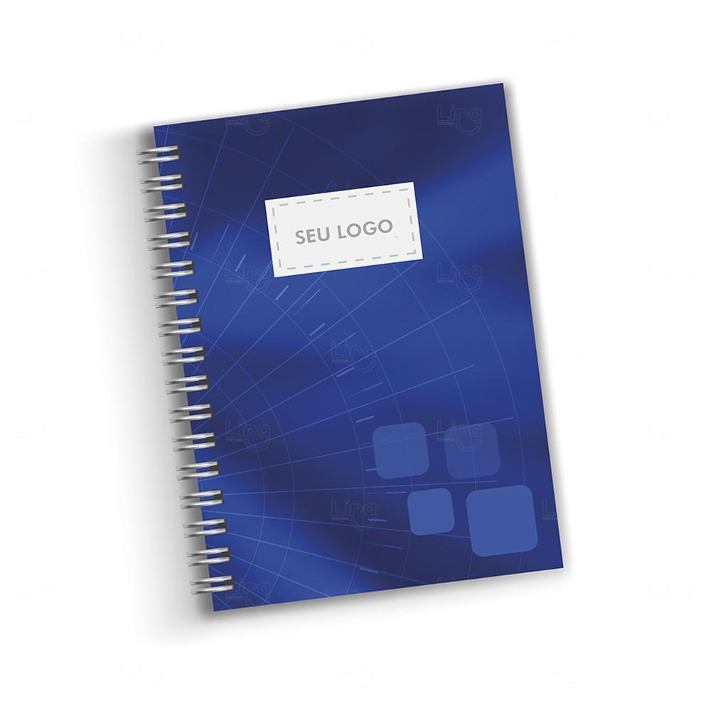 Caderno Capa Dura Couché Personalizado - 28 x 21cm Azul