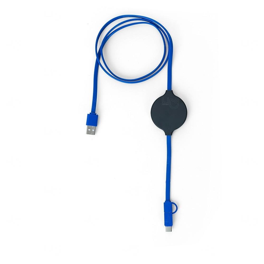 Cabo Wireless 3 em 1 Personalizado Azul