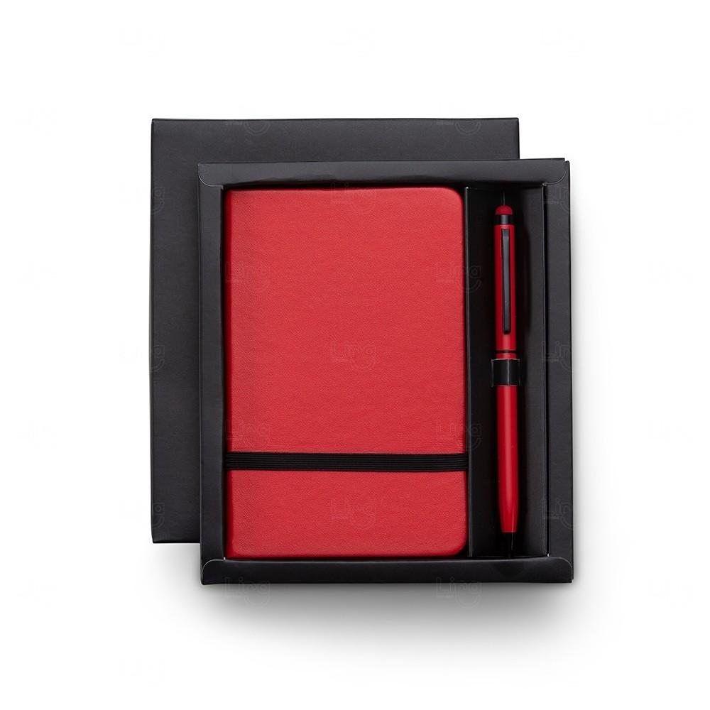 Kit Executivo com Caneta Touch Personalizado - 2 Peças Vermelho