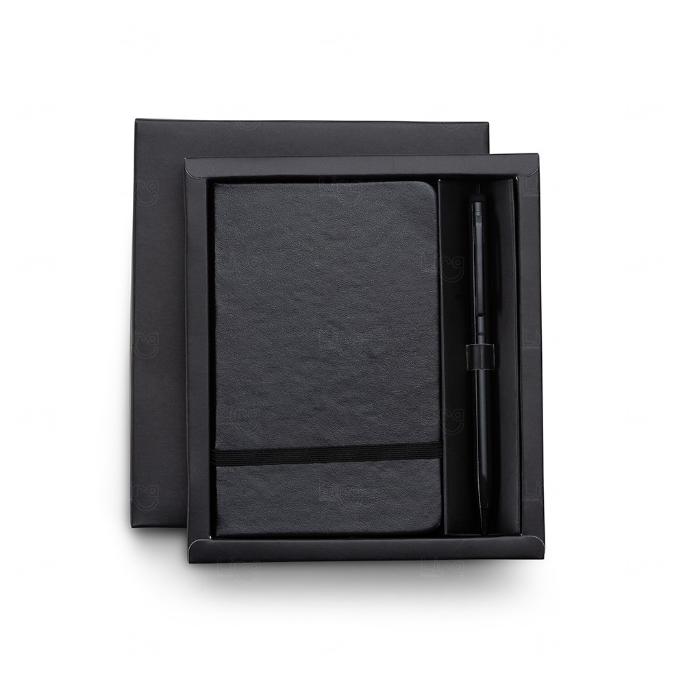 Kit Executivo com Caneta Touch Personalizado - 2 Peças Preto
