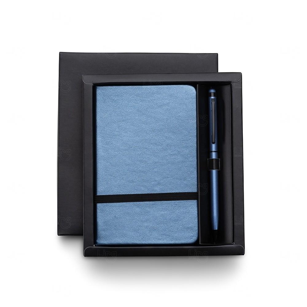 Kit Executivo com Caneta Touch Personalizado - 2 Peças Azul