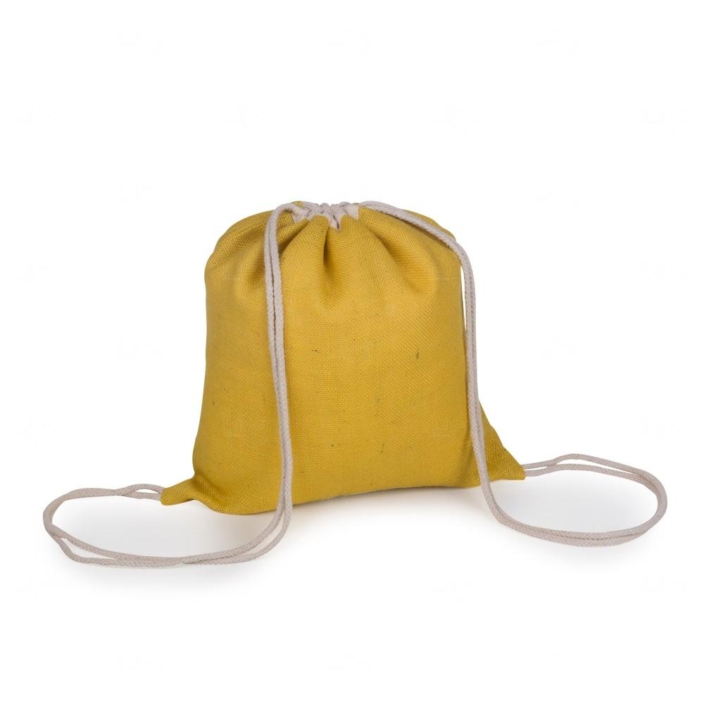 Sacochila de Juta  Personalizado - 40x37,5 cm Amarelo