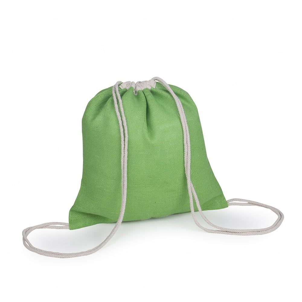 Sacochila de Juta  Personalizado - 40x37,5 cm Verde