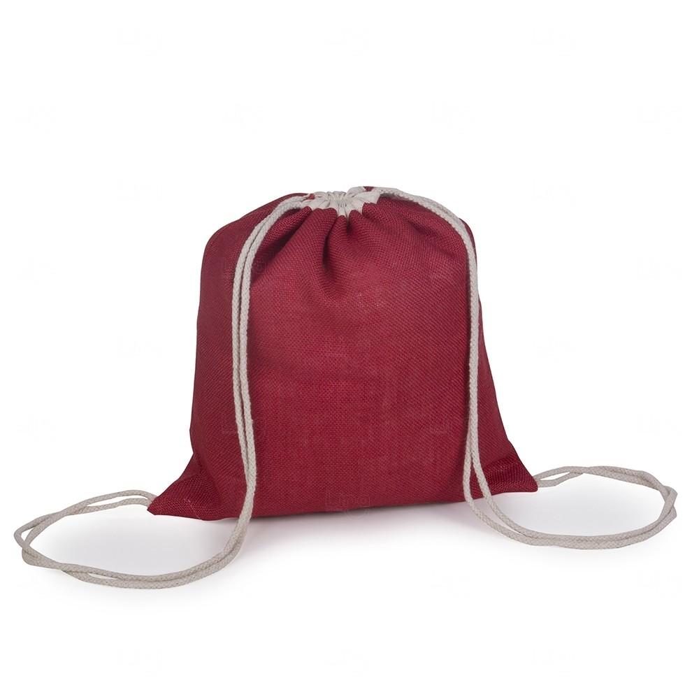 Sacochila de Juta  Personalizado - 40x37,5 cm Vermelho