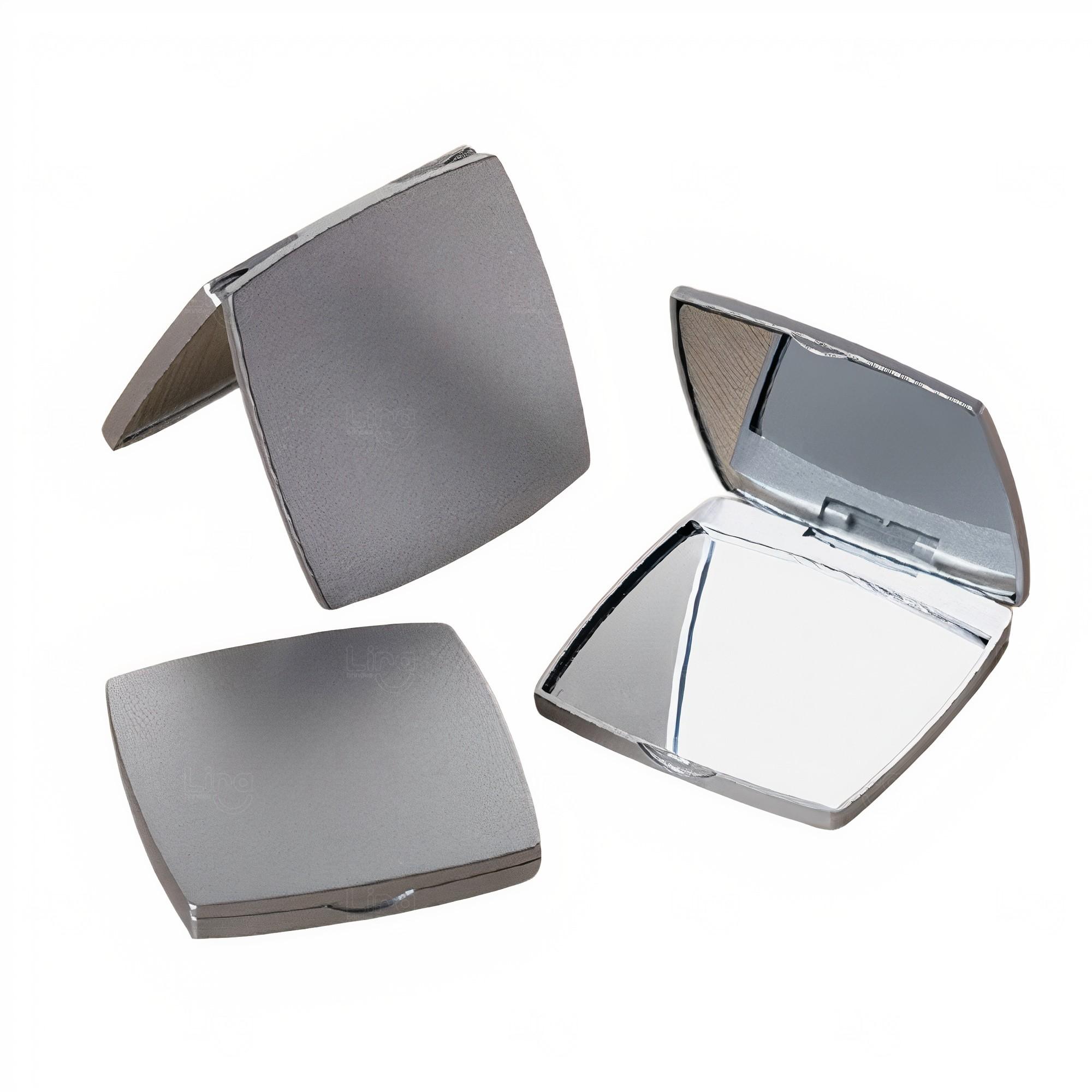 Espelho Personalizado de Plástico Duplo Sem Aumento Cinza Claro