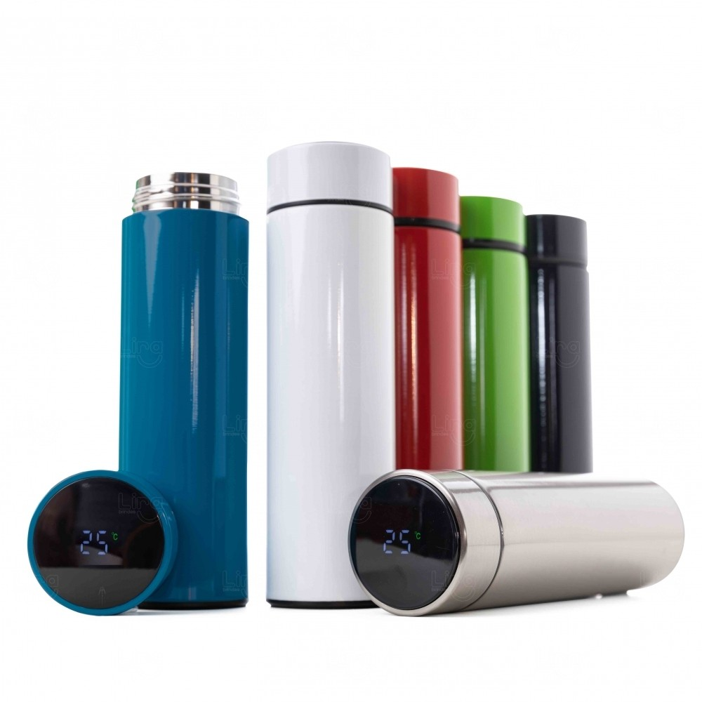 Garrafa Personalizada de Inox 450 ml com Display LED Azul
