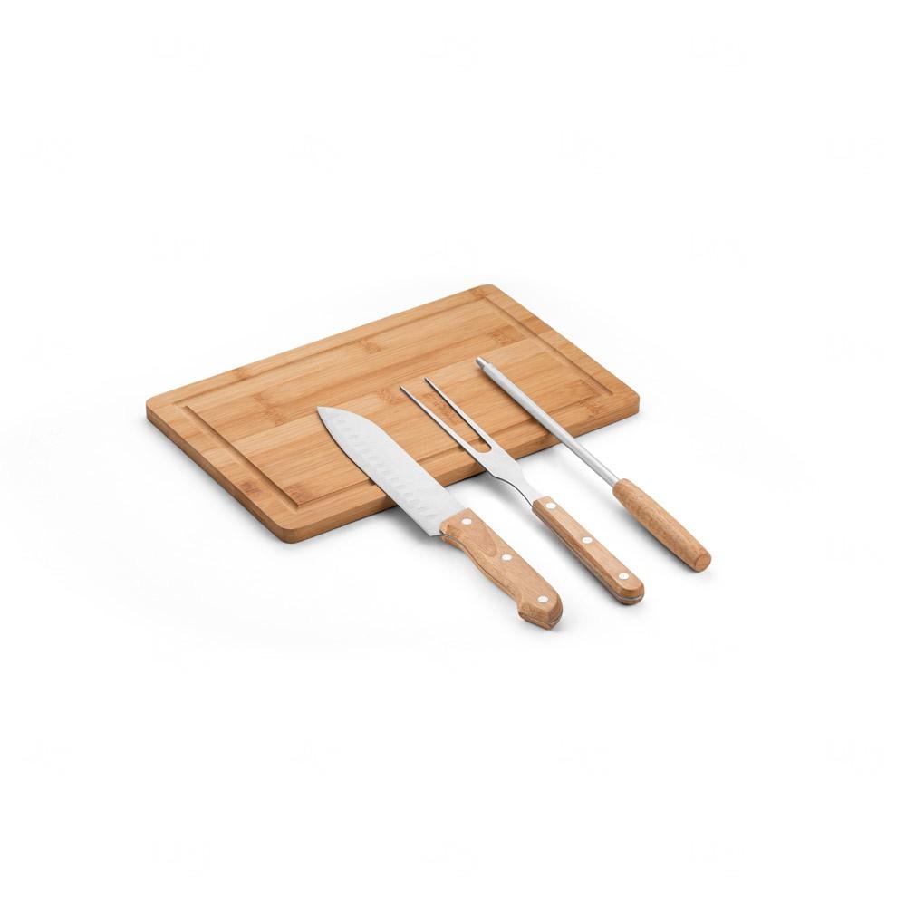 Kit personalizado de churrasco em estojo 3 peças Natural