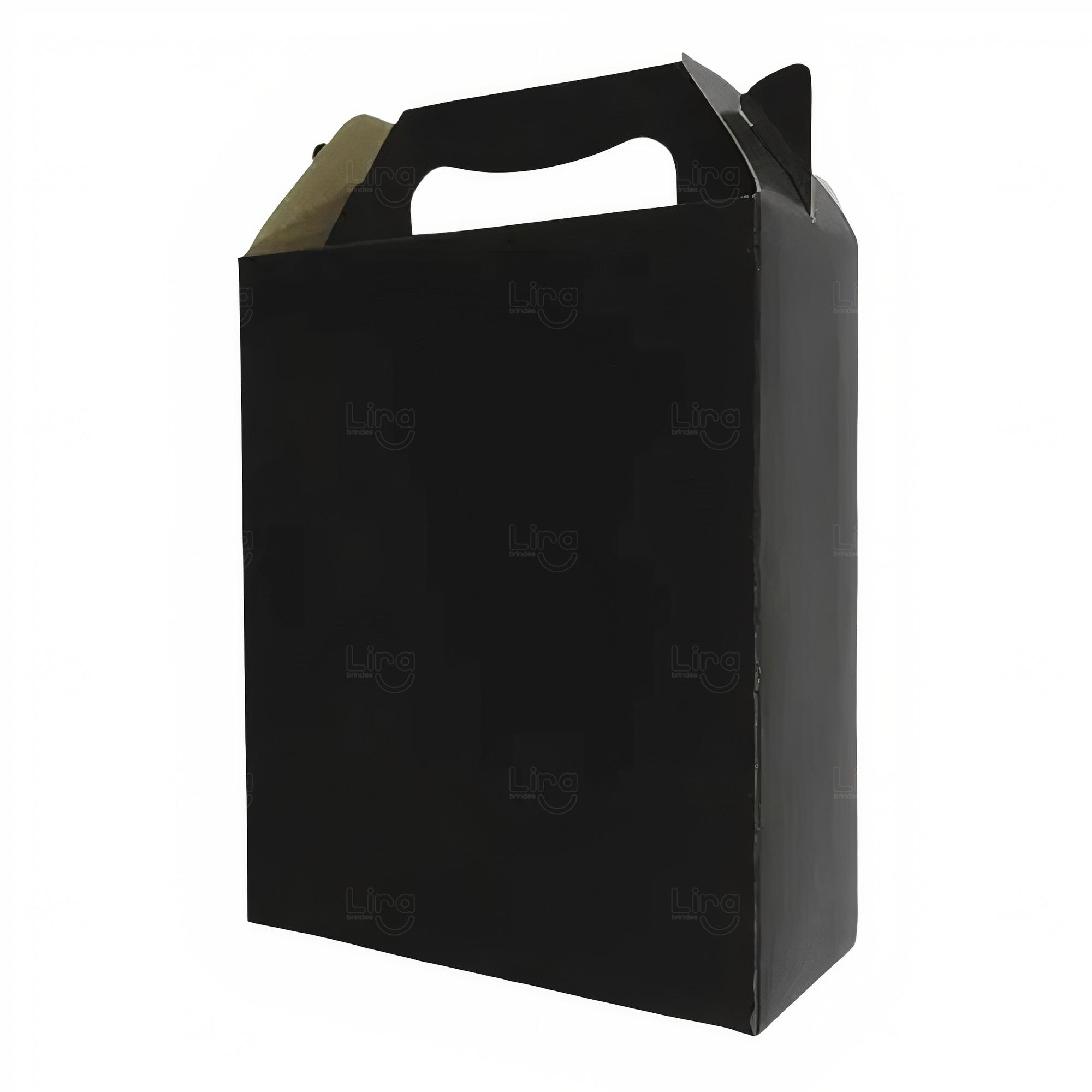 Caixa sacola personalizada papel duplex Preto