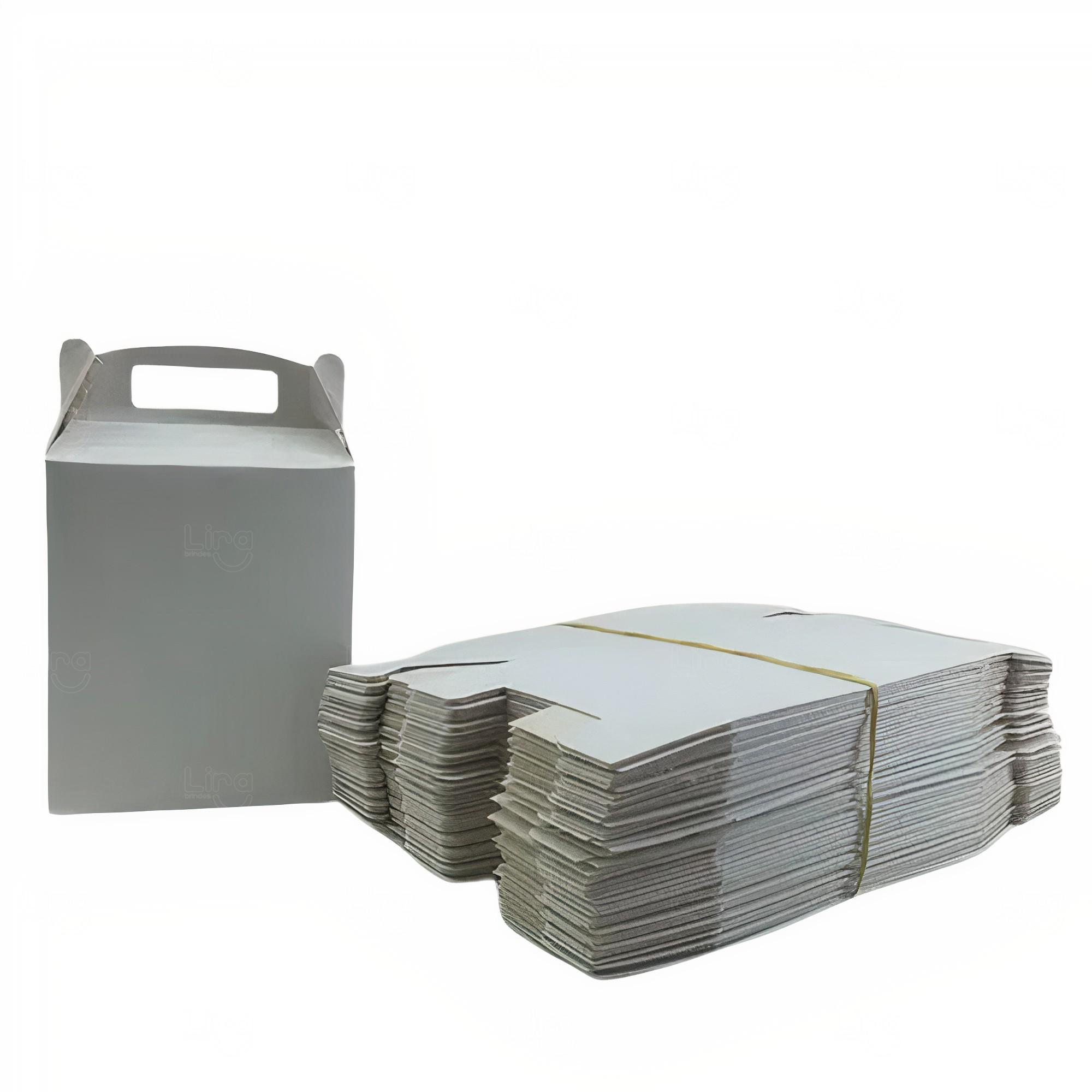 Caixa sacola personalizada papel duplex Cinza Claro