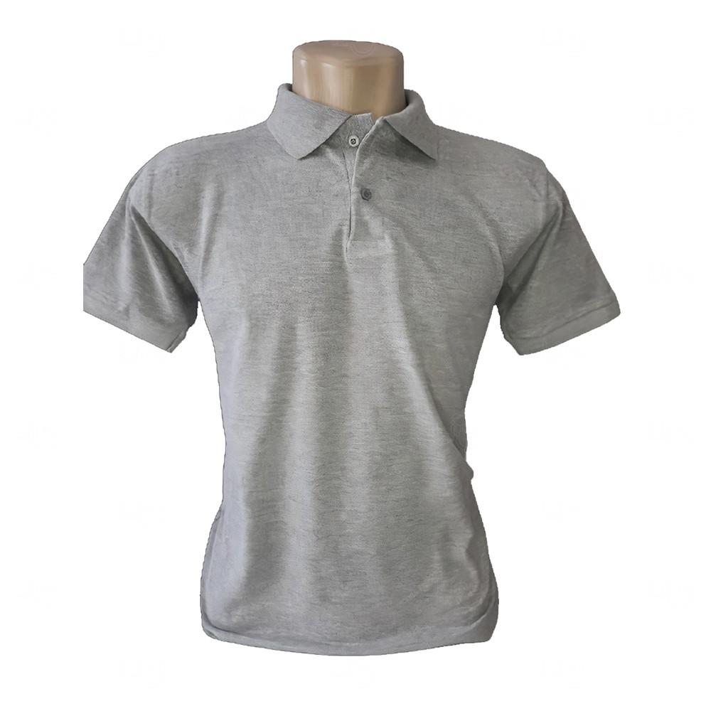 Camiseta Pólo Personalizada Masculina Cinza Claro